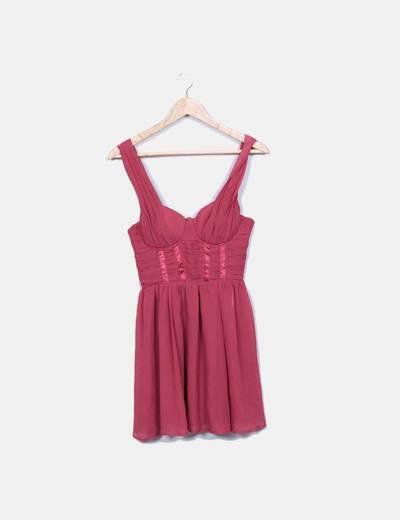 Robe rose en mousseline de soie H&M