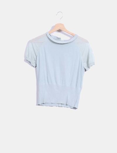 Top tricot vert à manches courtes COS