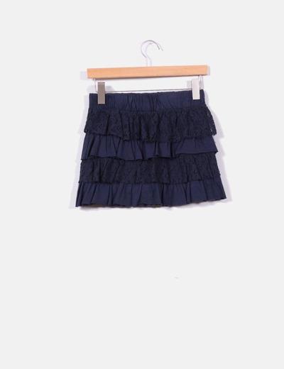 Mini falda de volantes azul marino