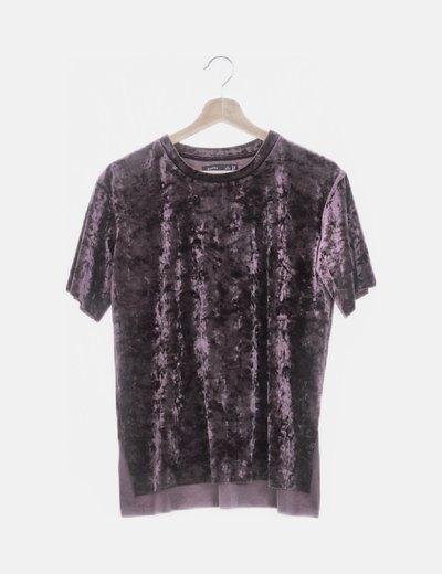 Camiseta manga corta terciopelo morado