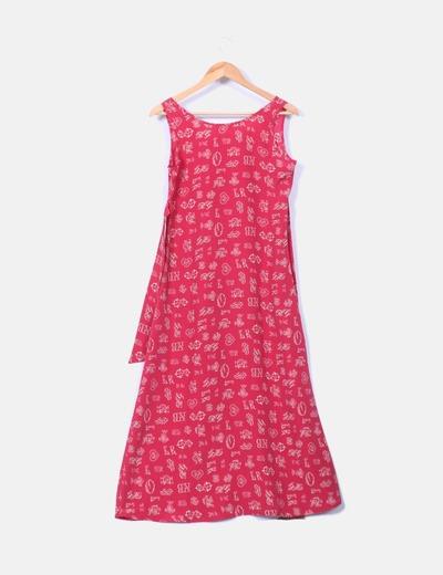 Maxi vestido rojo estampado