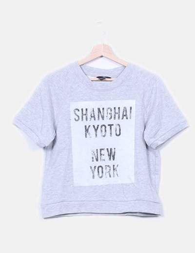 Sudadera gris de manga corta con letras blancas H&M