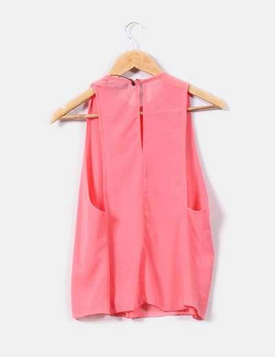 Blusa de gasa rosa chicle
