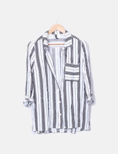 Camisa fluida blanca rayas negras