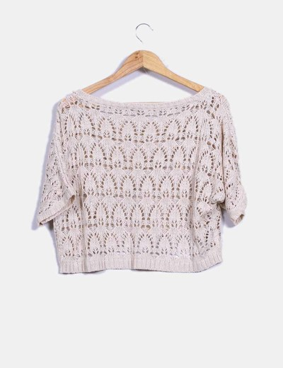 Top en crochet beige
