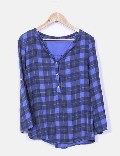 Blusa azul de cuadros NoName
