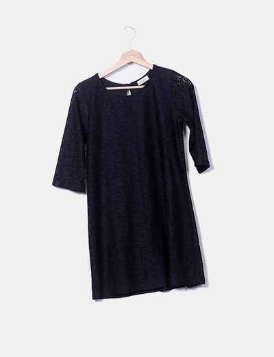 Vestido negro encaje Pull&Bear