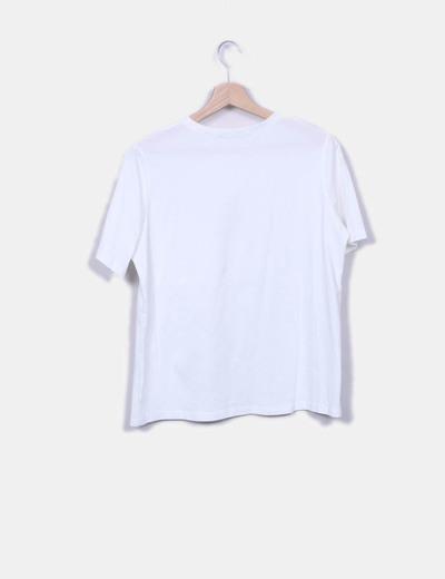 Camiseta blanca bolsillo perlas
