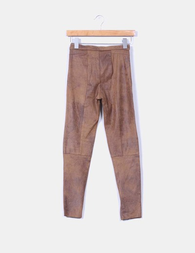 Jeggings marron efecto serraje