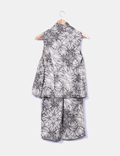 Vestido mini estampado efecto chaleco