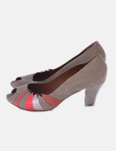 Zapato beige peep toe