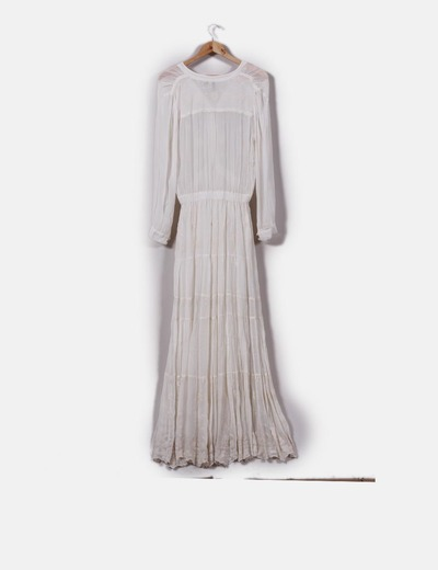 Maxi vestido crudo detalles bordados