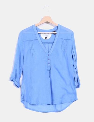 Blusa azul manga francesa Mango