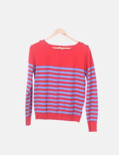 Jersey tricot rojo raya azul