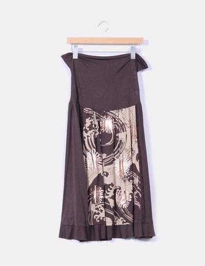 Falda marrón estampada corte asimétrico NoName