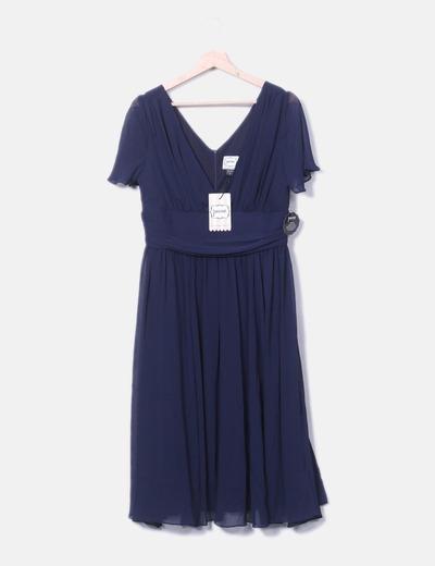 Robe bleu marine en mousseline de soie Joanie