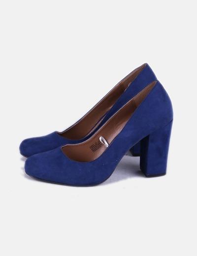 fotos oficiales 97e53 fe856 Zapato antelina azul klein tacón ancho