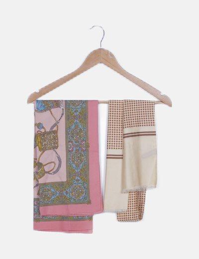 Pack dos pañuelos estampado combinado