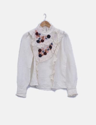 Blusa blanca combinada detalles plisados
