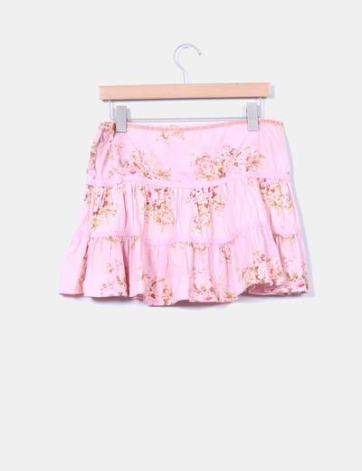 Falda rosa volantes print floral