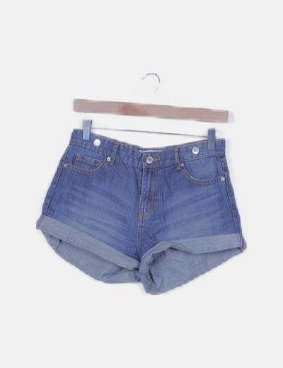 Pantalón short denim azul
