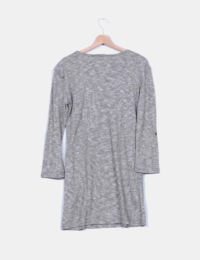 Maxi vestido gris manga larga detalle hombreras