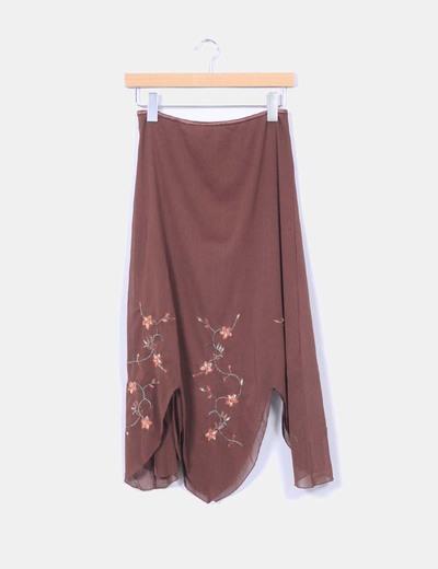 Falda marrón con bordado floral Vero Moda
