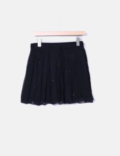 Falda midi negra combinada con paillettes Brownie
