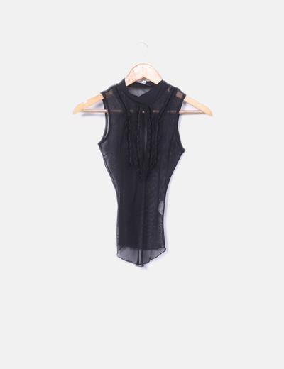 Waipaï Schwarze transparente Bluse (Rabatt 74 %) - Micolet 73f5c57255