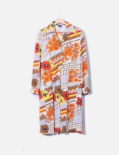 Vestido camisero estampado combinado