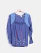 Blusa azul manga larga con bordado Peace And Love