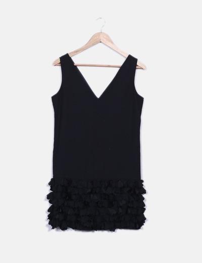 Vestido negro flores Kookaï