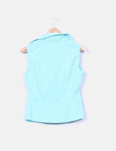 Blusa azul turquesa texturizada