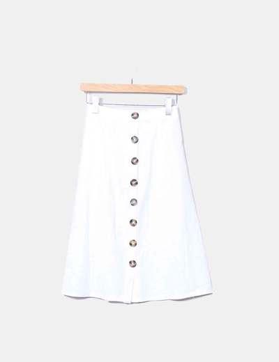 33d1f56bf6 LPA Falda midi blanca con botones (descuento 53%) - Micolet