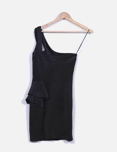Vestido cenido negro detalle volante