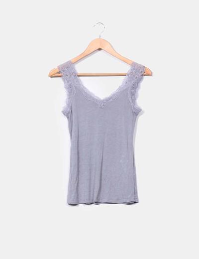 6eb7dfdf50f51 H M Camiseta gris con tirantes de encaje (descuento 56%) - Micolet