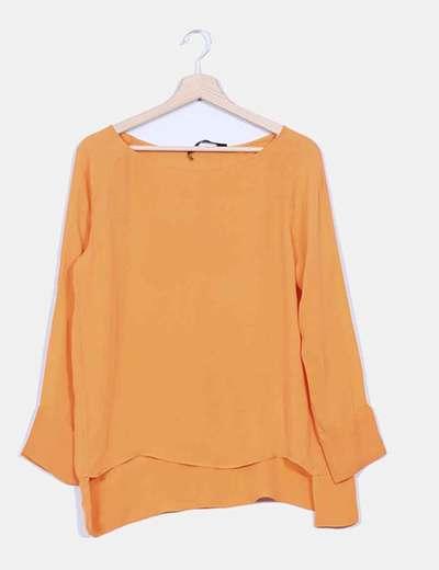 Blusa fluida naranja Zara