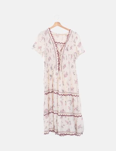 Vestido beige floral escote entrelazado