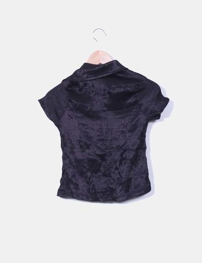 Camisa negra elastica drapeada