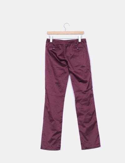 Pantalon burdeos satinado