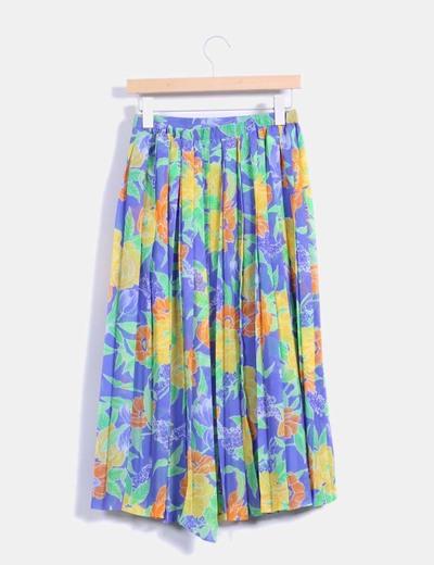 Maxi falda plisada multicolor