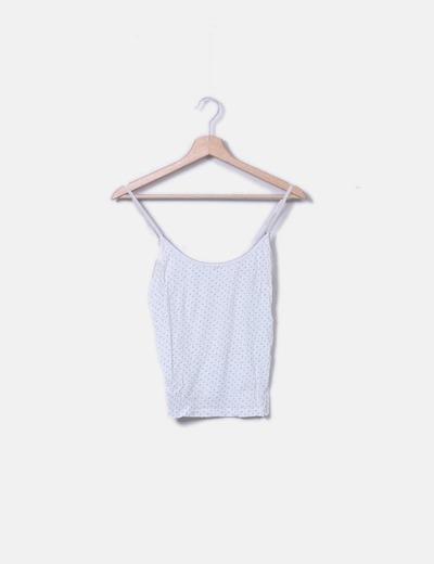 Camiseta de tirantes blanco con lunares Massimo Dutti