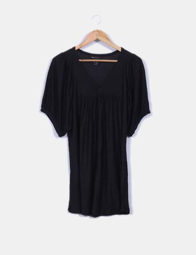 Vestido negro  basico con transparencia Mango