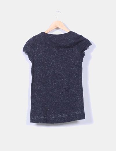 Camiseta negra glitter manga corta
