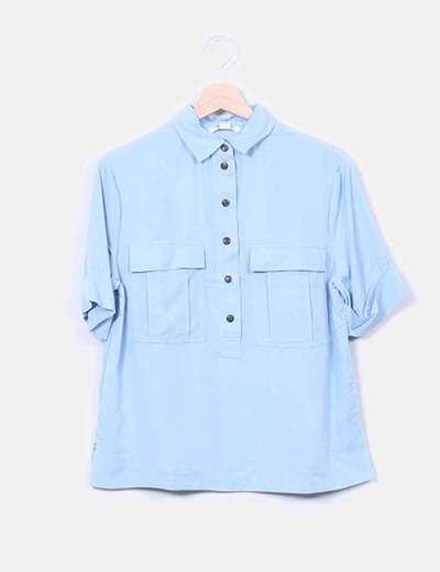 Camisa fluida azul celeste manga corta Suiteblanco