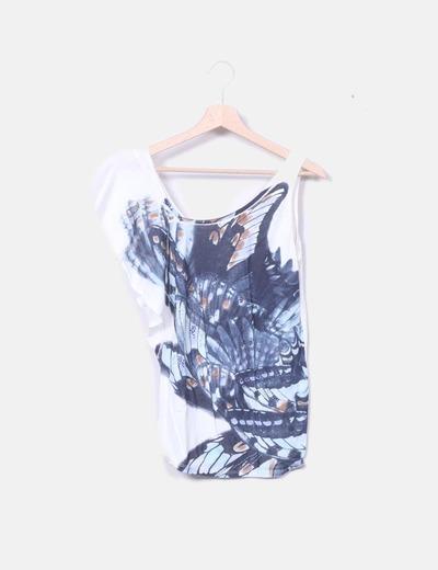Camiseta asimétrica blanca print mariposas