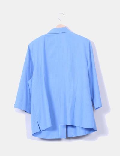 Blazer fluida azul texturizada