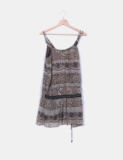bello economico ultima selezione stile limitato Vestido animal print con strass en la cintura