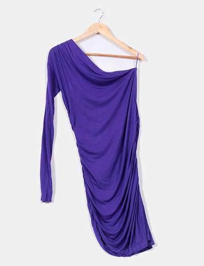 Vestido morado de una manga larga Zara