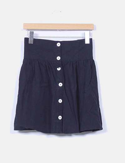 Mini falda azul marino con botones Zara